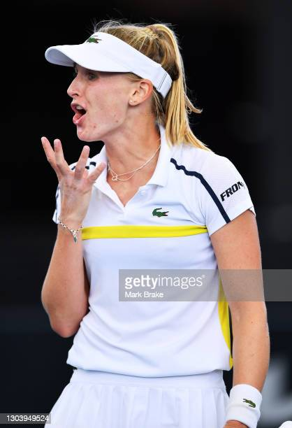 Jil Teichmann of Switzerland reacts to a lost point in the tie -break against Anastasia Sevastova of Latvia during day four of the Adelaide...