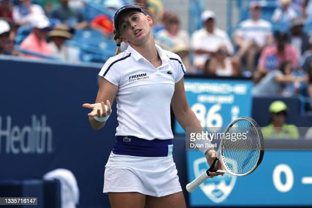 Jil Teichmann of Switzerland reacts to loosing a point against Ashleigh Barty of Australia during the women's singles finals of the Western &...