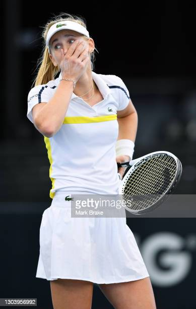 Jil Teichmann of Switzerland reacts to winning the match against Anastasia Sevastova of Latvia during day four of the Adelaide International WTA 500...