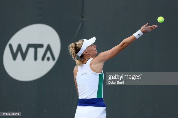 Jil Teichmann of Switzerland serves during her match against Jennifer Brady during Top Seed Open - Day 7 at the Top Seed Tennis Club on August 16,...