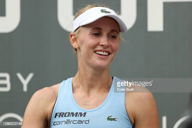 Jil Teichmann of Switzerland speaks to the media after defeating Catherine Bellis 6-2, 6-4 during Top Seed Open - Day 5 at the Top Seed Tennis Club...