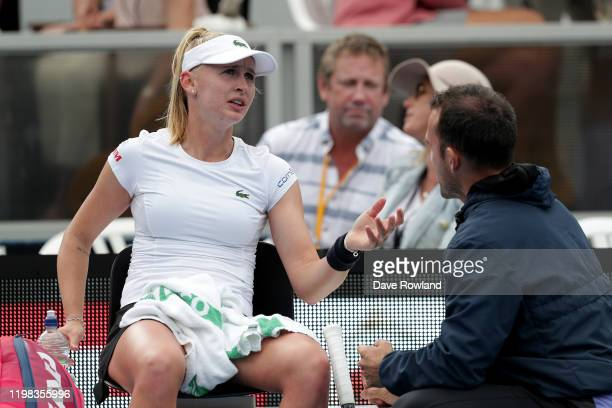 Jil Teichmann of Switzerland speaks with coach Arantxa Parra Santonja during her match against Julia Goerges of Germany during day four of the 2020...