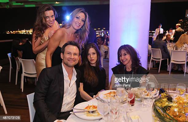 Jilian Sanz Sarah Mirmelli Christian Slater Brittany Lopez and Diane Lieberman attend the Haute Living Miami Haute 100 Dinner Presented By Dom...