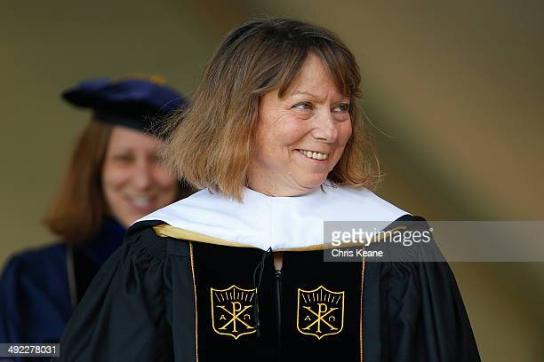 Jill Abramson former executive editor at the New York Times smiles after receiving an honorary degree during commencement ceremonies for Wake Forest...