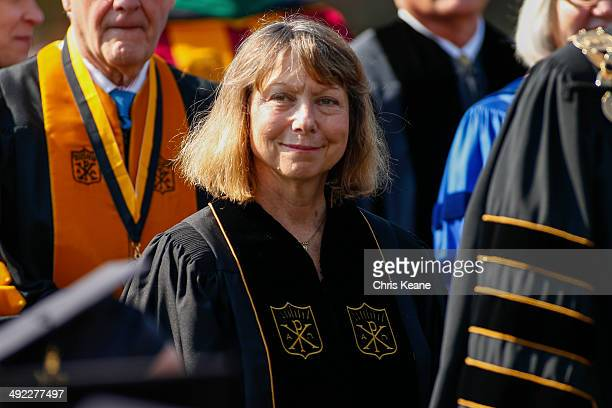 Jill Abramson, former executive editor at the New York Times walks in with faculty and staff during commencement ceremonies for Wake Forest...