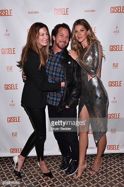 Jill and Eddie Vedder and Gisele Bundchen attend the Gisele Bundchen Spring Fling book launch on April 30 2016 in New York City