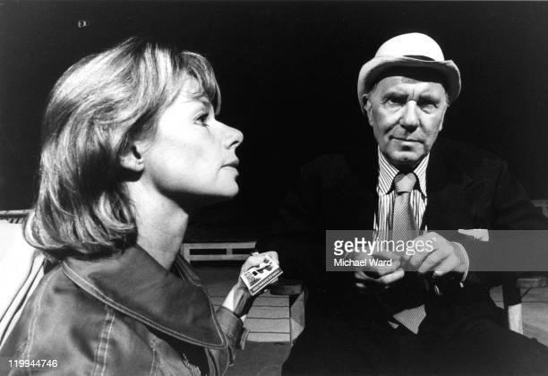 Jill Bennett and Ralph Richardson rehearsing John Osborne's play 'West of Suez' Royal Court Theatre 1971