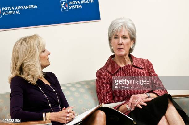 Jill Biden and Kathleen Sebelius speak during a roundtable discussion during a visit to the Breast Care Center at the Inova Alexandria Hospital at...