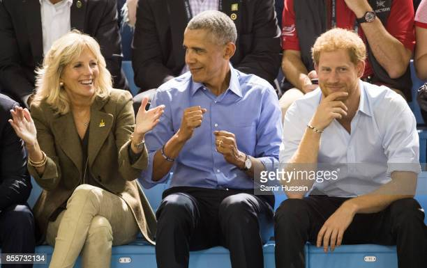 Jill Biden Barack Obama and Prince Harry watch the wheelchair basketball on day 7 of the Invictus Games Toronto 2017 on September 29 2017 in Toronto...
