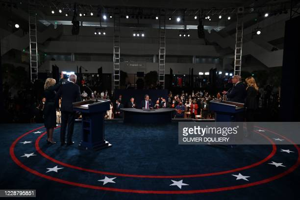 Jill Biden Democratic presidential candidate Joe Biden moderator and Fox News anchor Chris Wallace US President Donald Trump and US First Lady...