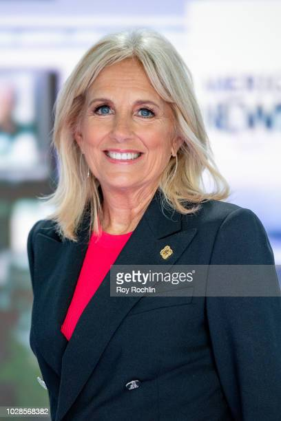 Jill Biden discusses Walk of America as she visits America's Newsroom at Fox News Channel Studios on September 6 2018 in New York City