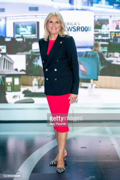 """Jill Biden discusses """"Walk of America"""" as she visits """"America's Newsroom"""" at Fox News Channel Studios on September 6, 2018 in New York City."""