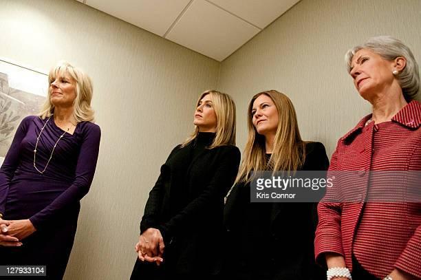 Jill Biden Jennifer Aniston Kristin Hahn and Kathleen Sebelius listen during a visit to the Breast Care Center at the Inova Alexandria Hospital at...