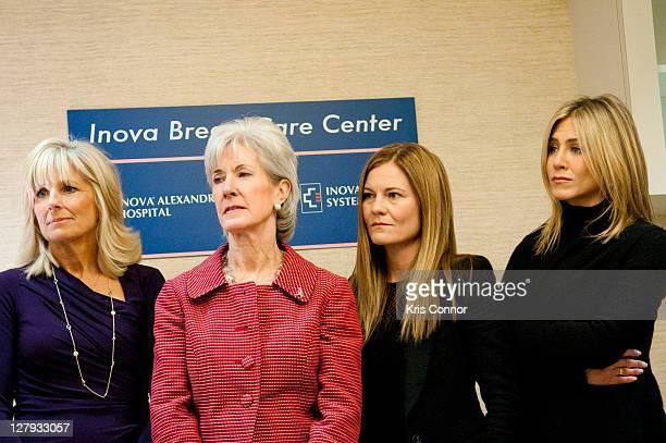 Jill Biden Kathleen Sebelius Kristin Hahn and Jennifer Aniston listen during a visit to the Breast Care Center at the Inova Alexandria Hospital at...