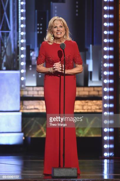 Jill Biden speaks onstage during the 2017 Tony Awards at Radio City Music Hall on June 11 2017 in New York City