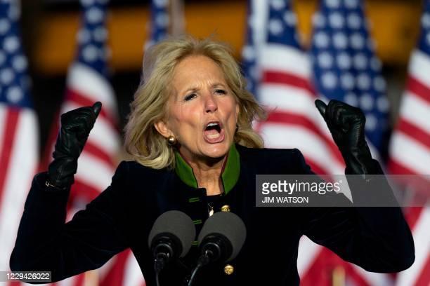 Jill Biden speaks prior to Democratic presidential candidate Joe Biden speaking during a Drive-In Rally at Heinz Field in Pittsburgh, Pennsylvania,...