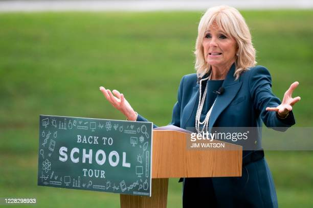 Jill Biden, the wife of Democratic presidential candidate Joe Biden, speaks during a Back to School Tour at Shortlidge Academy in Wilmington,...