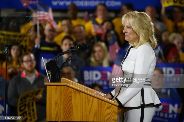 Jill Biden wife of US Vice President Joe Biden pauses while speaking at the Teamsters Local 249 Union hall during a campaign stop in Pittsburgh...