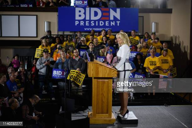 Jill Biden wife of US Vice President Joe Biden speaks at the Teamsters Local 249 Union hall during a campaign stop in Pittsburgh Pennsylvania US on...
