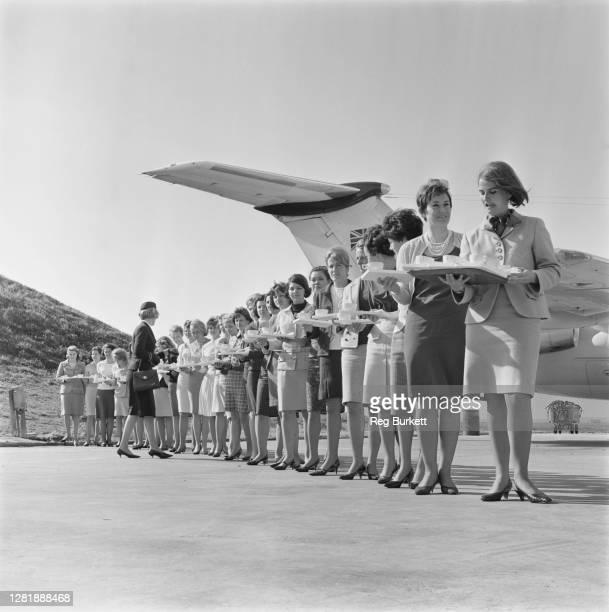 Jill Bradford training would-be air hostesses at Gatwick Airport, UK, 14th May 1966.