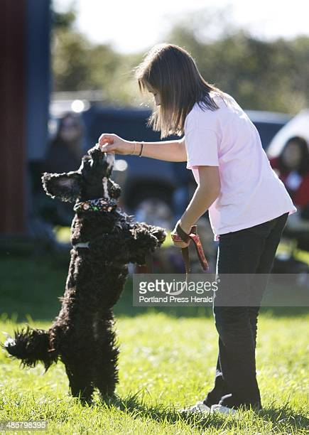 Abby L'Abbe of Topsham has some fun giving Sasha her 9 yearold cockapoo a treat at the Woofminster Dog Show Cover Dog Challenge held at Camp Ketcha...