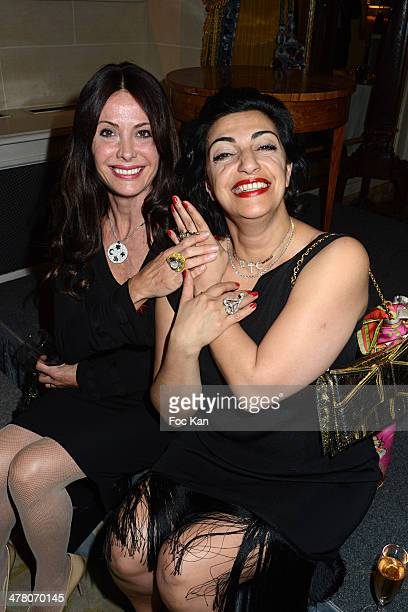 Jill Cerrone and jewellery designer Fadia Otte attends Sauvons Saint Cloud Auction Ceremony Dinner at Hotel Interallie on March 11 2014 in Paris...
