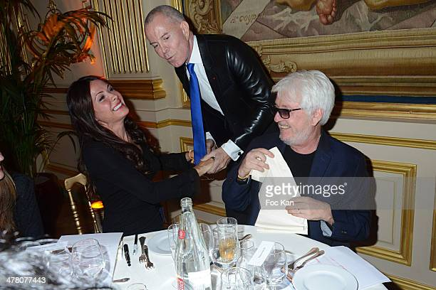 Jill Cerrone Jean Claude Jitrois and Marc Cerrone attend Sauvons Saint Cloud Auction Ceremony Dinner at Hotel Interallie on March 11 2014 in Paris...