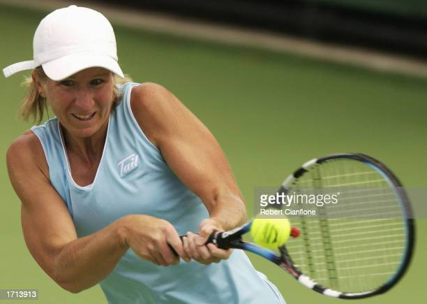 Jill Craybas of the USA in action during her quarter final match against Elena Likhovtseva of Russia during the fourth day of the 2003 Moorilla...