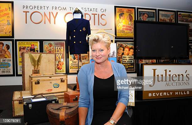 Jill Curtis poses during the press preview of the late Tony Curtis' art, antiques, entertainment memorabilia at Julien's Auctions Gallery on August...