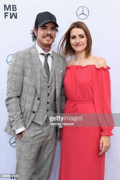 Jill Deimel and Bella Lesnik attend the Guido Maria Kretschmer show during the Berlin Fashion Week Spring/Summer 2019 at ewerk on July 2 2018 in...