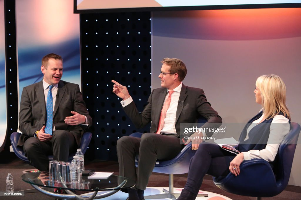 Jill Douglas moderates a discussion with COO British and Irish Lions, Charlie McEwan (L) and CEO Saracens, Heath Harvey, at The Sport Industry Breakfast Club, supported by Deltatre and hosted by BT Sport, at the BT Centre on May 19, 2017 in London, England.