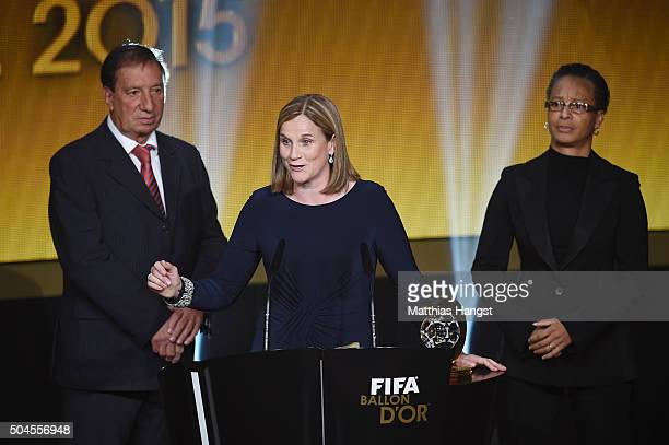 Jill Ellis head coach of the United States women national football team speaks to the audience after receiving the FIFA World Women's Coach of the...