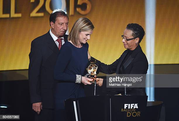 Jill Ellis head coach of the United States women national football team receives the FIFA World Women's Coach of the Year Award from Hope Powell...