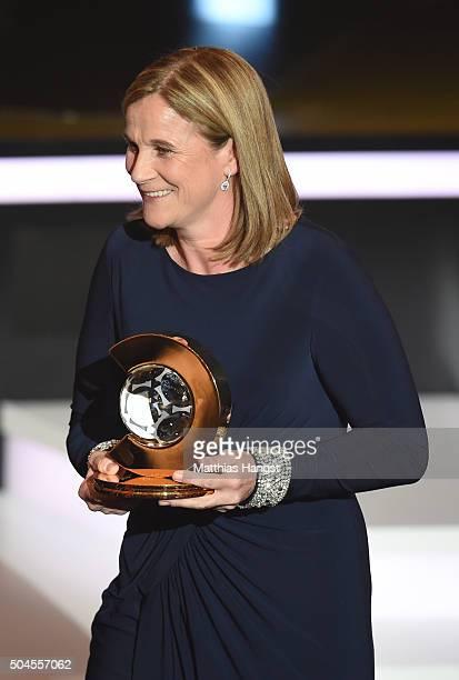 Jill Ellis head coach of the United States women national football team receives the FIFA World Women's Coach of the Year Award during the FIFA...