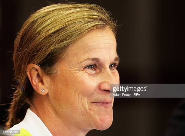 Jill Ellis Head Coach of the USA speaks to the media at the press conference before USA training at Winnipeg Stadium on June 7, 2015 in Winnipeg,...