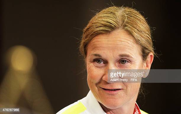 Jill Ellis Head Coach of the USA speaks to the media at the press conference before USA training at Winnipeg Stadium on June 7 2015 in Winnipeg Canada