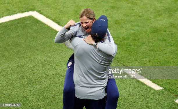 Jill Ellis, Head Coach of USA celebrates following victory in the 2019 FIFA Women's World Cup France Quarter Final match between France and USA at...