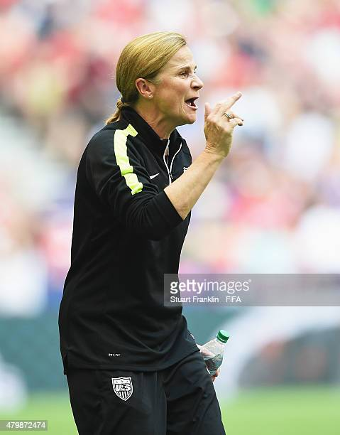 Jill Ellis, head coach of USA gestures during the FIFA Women's World Cup Final between USA and Japan at BC Place Stadium on July 5, 2015 in...