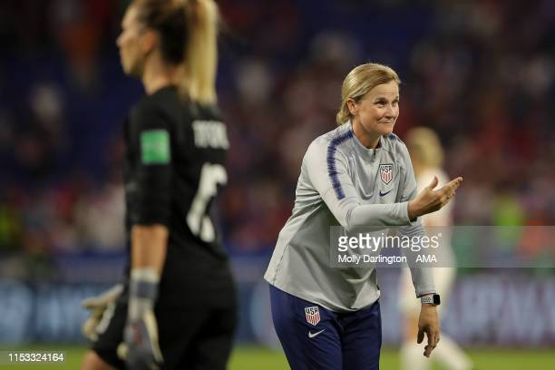 Jill Ellis the head coach / manager of USA celebrates during the 2019 FIFA Women's World Cup France Semi Final match between England and United...