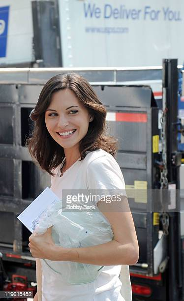 Jill Flint seen on location for 'Royal Pains' on the streets of Manhattan on July 22 2011 in New York United States
