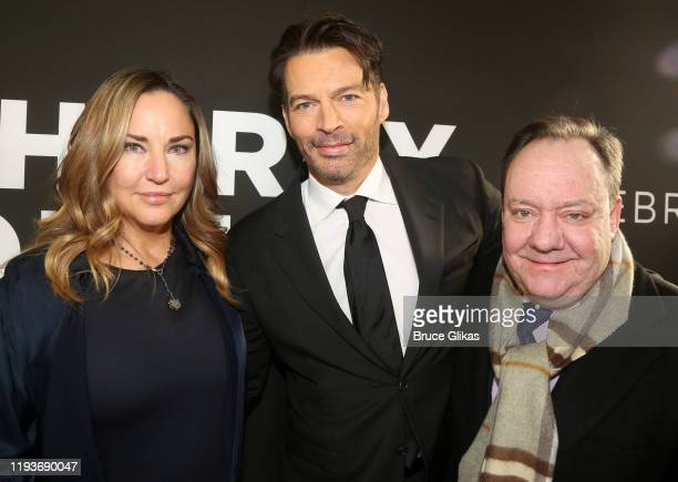 Jill Goodacre Harry Connick Jr and Producer James L Nederlander pose at the opening night of Harry Connick Jr A Celebration Of Cole Porter on...