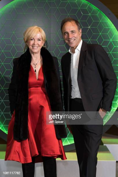 Jill Green and Anthony Horowitz attend the Vanity Fair x Bloomberg climate change gala dinner at Bloomberg London on December 11 2018 in London...