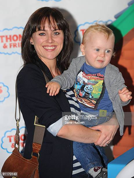 Jill Halfpenny and her son Harvey Rhys arrive for the Thomas Friends 'Hero Of The Rails' premiere with her children Princess and Harvey at the Vue...