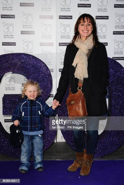 Jill Halfpenny and son Harvey arrive at the Mamas Papas 30th Birthday party in London