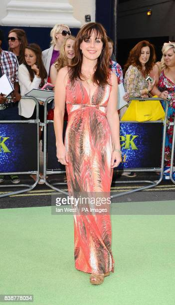 Jill Halfpenny arrives at the opening night of Shrek The Musical at the Theatre Royal in London