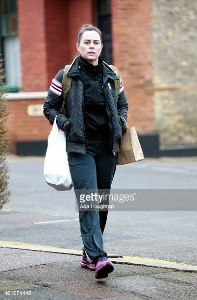 Jill Halfpenny is pictured returning home from an early morning walk on January 5 2015 in London England