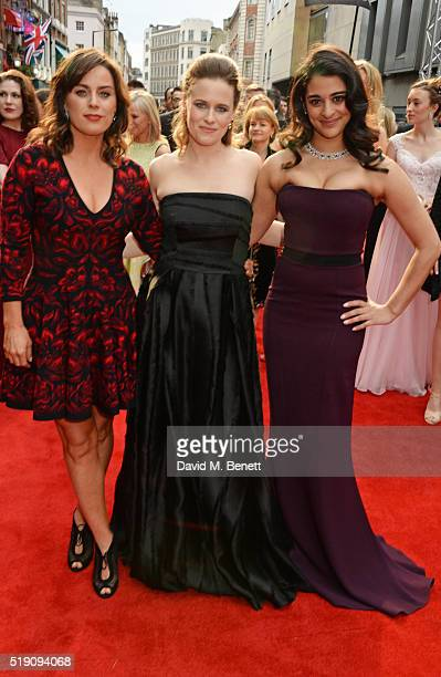 Jill Halfpenny Katie Brayben and Natalie Dew arrive at The Olivier Awards with Mastercard at The Royal Opera House on April 3 2016 in London England