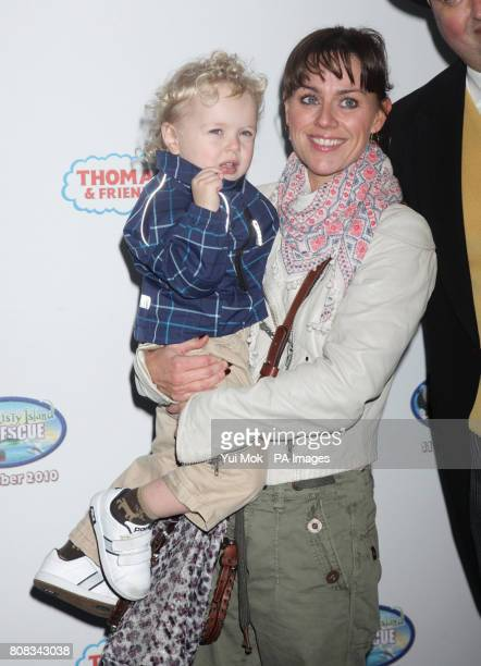 Jill Halfpenny with son HarveyRhys arriving for the screening of Thomas Friends Misty Island Rescue at the VUE cinema in Leicester Square central...