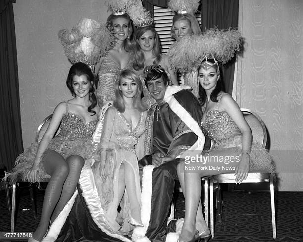 Jill Haworth and Jerry Orbach King and Queen of the Artists and Models Ball are surrounded by their ladies in waiting