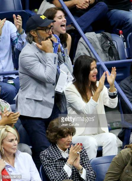 Jill Hennessy and her husband Paolo Mastropietro attend the men's final on day 14 of the 2018 tennis US Open on Arthur Ashe stadium at the USTA...